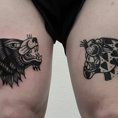 Vintage Wolf and Jaguar Lag Tattoos