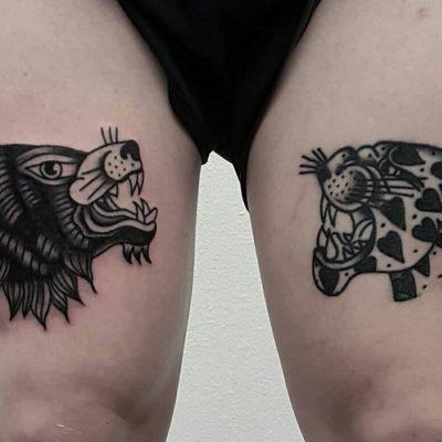 Vintage Wolf and Jaguar Lag Tattoos