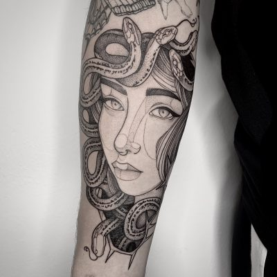 Blackwork Medusa Lag Tattoos