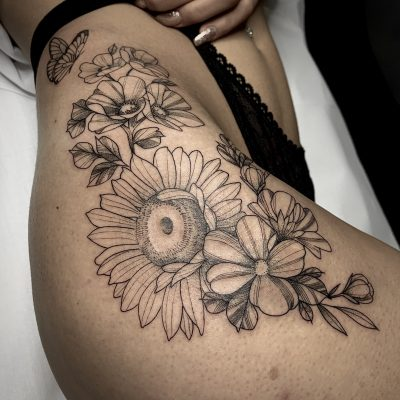 Blackwork Sunflowers Lag Tattoos